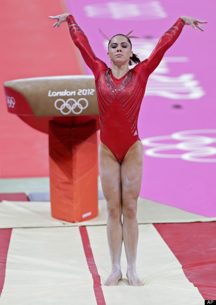 U.S. Women's Gymnastics Wins Team Gold Medal At London Olympics. McKayla Maroney performs on the vault.