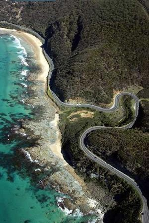 A section of the Great Ocean Road between Aireys Inlet and Lorne, Victoria, Australia
