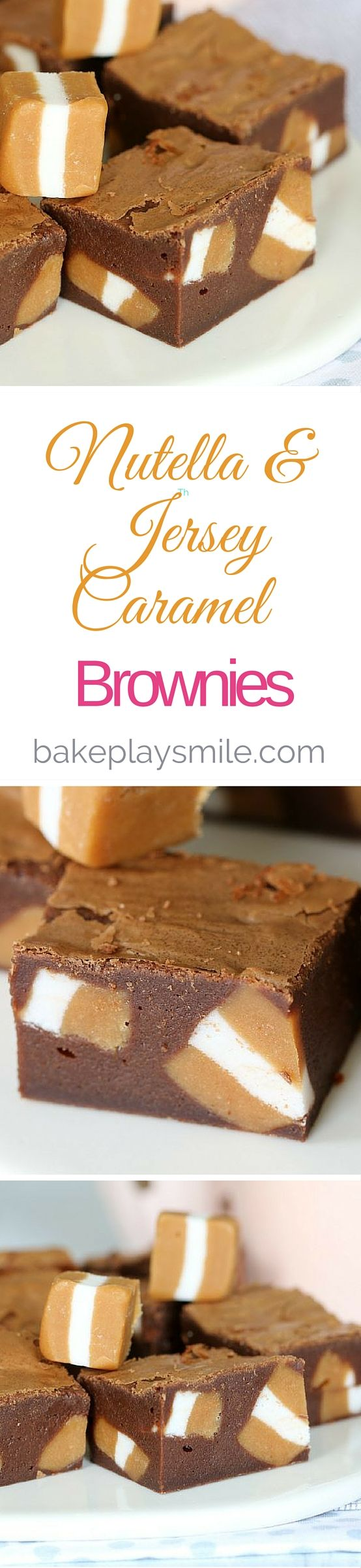 These Nutella & Jersey Caramel Brownies are out of this world! Seriously they are so over-the-top (in a totally delicious way!!). Rich and fudgy with the perfect amount of caramel! Yum | Bake Play Smile #brownies #chocolate #Nutella #jerseycaramels #easy #recipe