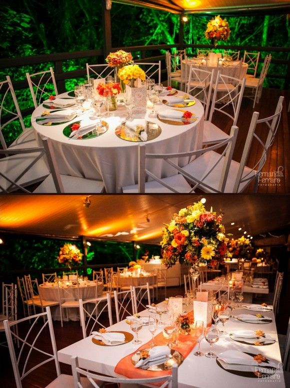 Por Toda Vida  Casamentos Decoração  Casamento amarelo e laranja