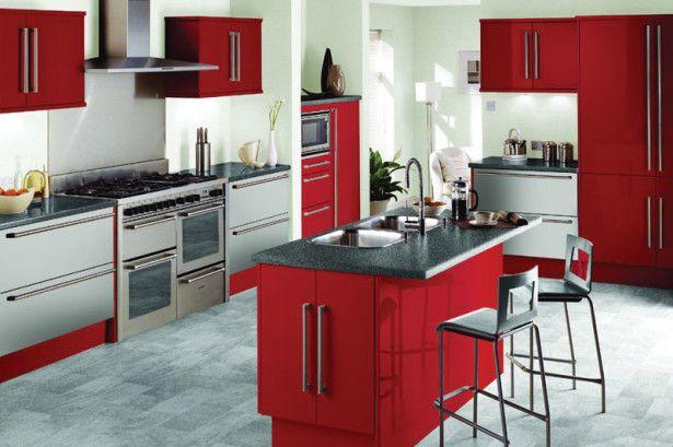 Apartment, Red Kitchen Theme Minimalist Barstool Minimalist Red Island Grey Marble Countertop Modern Stove Modern Range Hood Kitchen Set Idea: Kitchen Design Ideas