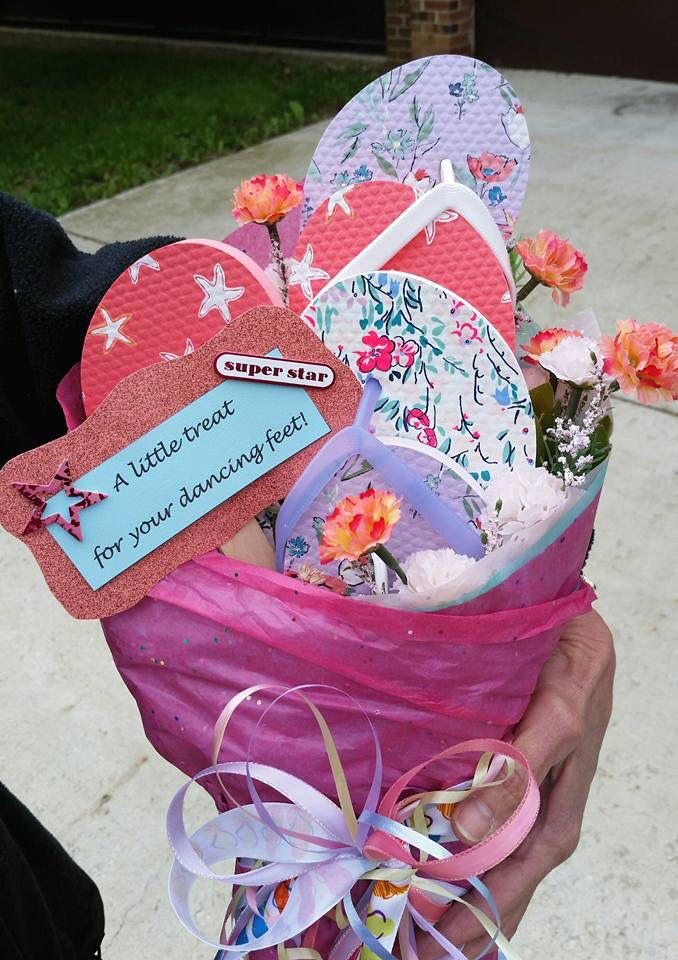 Dance recital flip flop bouquet