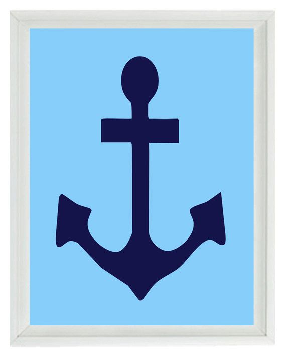 Anchor Wall Art Print - Navy Blue Light Blue - Nautical Nursery Children Room Home Decor Print (Frame not included)    You can customize print to