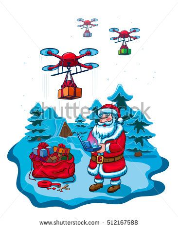 Santa Claus Hold Remove Controller Drone Delivery Present, New Year Christmas Holiday Vector Illustration Isolated On White