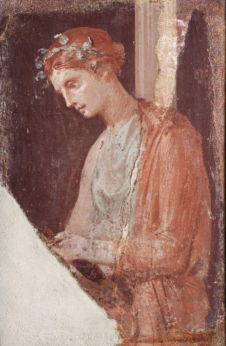 Affresco con ragazza che legge da Pompei, Napoli, Museo Archeologico Nazionale