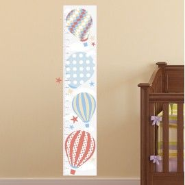 Hot Air Balloons Growth Chart made from premium self adhesive fabric. Simply peel and stick to create an engaging setting within minutes