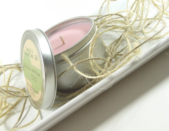 Scented Soy Candle, Pink Lilac and Willow scented Soy Candle Tin, 8 ounce Tin, by curiouscarrie, $10.00 #soycandles #candles #scentedcandles #lilac #pink #gifts