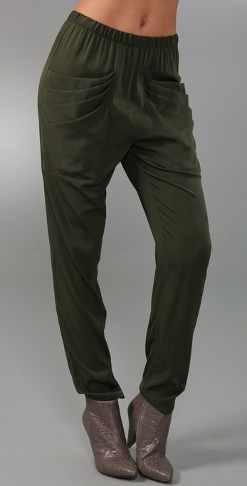 Inspiration ~ Loeffler Randall slouchy silk pants with pleated draped front pockets,