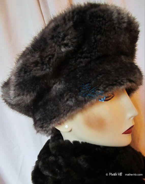 chapeau hiver sur commande loup gris cendré fausse-fourrrure