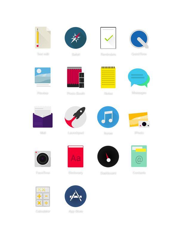 Ícones OS X by Yann Valber, via Behance