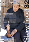 Slow food magazine with a picture I took of a woman in Lebanon crushing garlic in Baskinta.