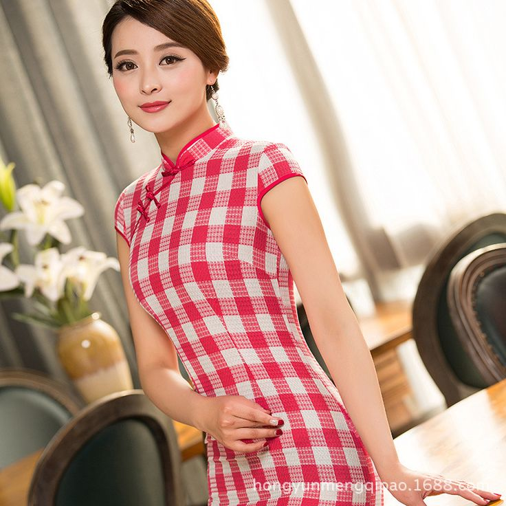 2017 Abendkleider Dream Manufacturers Spring And Summer Classic Plaid Short Cotton Dress Cheongsam Slits Are Improved Daily