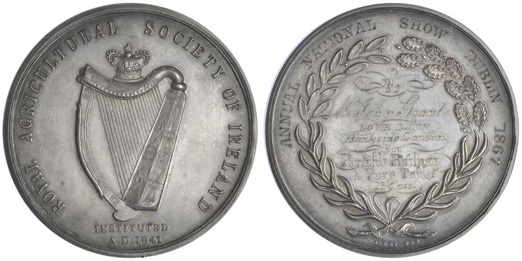 Royal Agricultural Society of Ireland, a silver award medal by J. Woodhouse and Jones of Dublin, crowned harp, rev. wreath, named (Annual National Show Dublin 1867, To Mr John Grant, Love Lane, Bankside, London, for Portable Railway & Turntables, 1st Class), 51mm. Extremely fine and toned