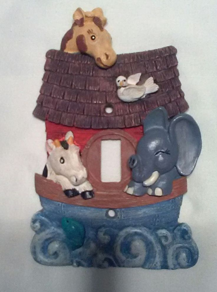 Noah's Ark Nursery Baby Light Switch Cover Plate Elephant Dove Cow Fish Giraffe