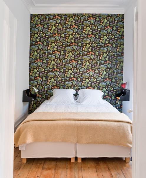 Beautiful Josef Frank floral wallpaper in Estrela apartment, Baixa House    www.baixahouse.com