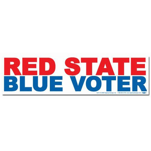 Red state blue voter bumper sticker bs15273 democraticstuff com