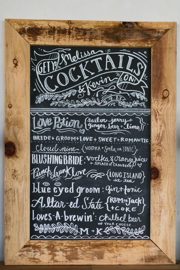 chalkboard cocktail menu // photo by Chris + Jenn Photography, styling by Styling Starts Here // view more: http://ruffledblog.com/romantic-agoura-hills-wedding