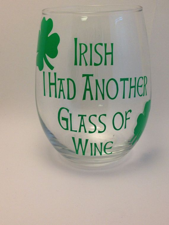 St. Patrick's Day Wine Glass St. Pat's Wine by BellaandKateDesigns