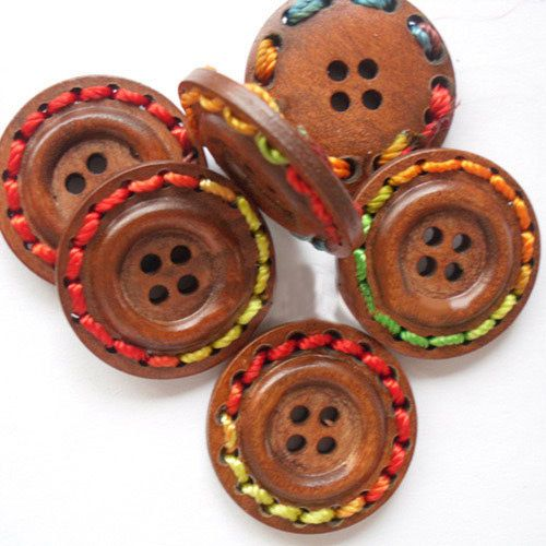 "1"" Multi Thread Trimmed Brown Wood Button Set of 12"