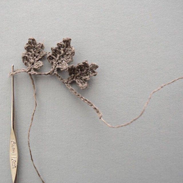 linen crochet leaves  ~ figalili