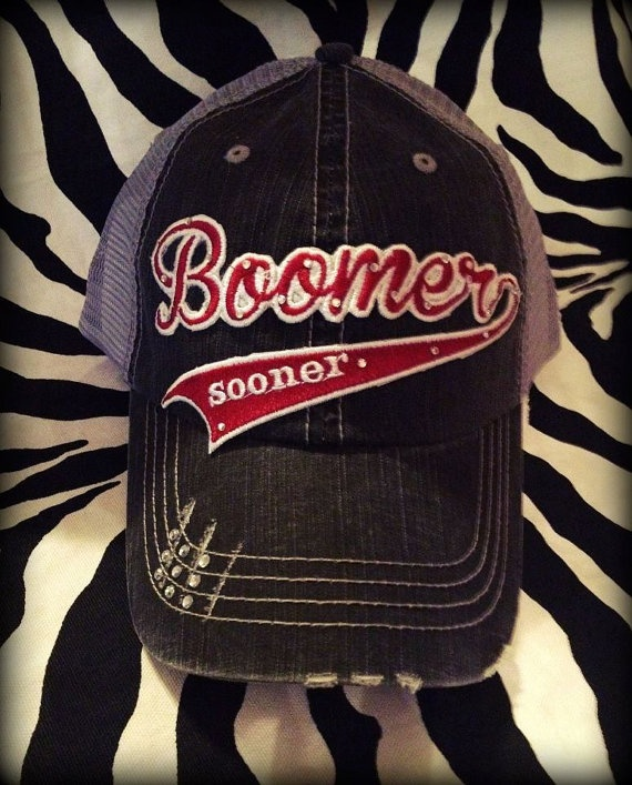 Oklahoma Boomer Sooner Distressed Mesh by BlingyBlondeDesigns on Etsy & Facebook, $31.50