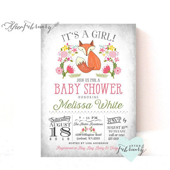 Fox Baby Shower Invite Invitation  Spring Summer by AfterFebruary
