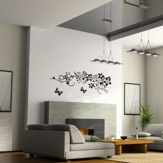 Wall-By-Wall | Muursticker sierbloemen. Kleed je kamer aan met deze sierlijke bloemen en leuke vlinders voor net dat tikkeltje meer. Je interieur zal stralen met deze muursticker!