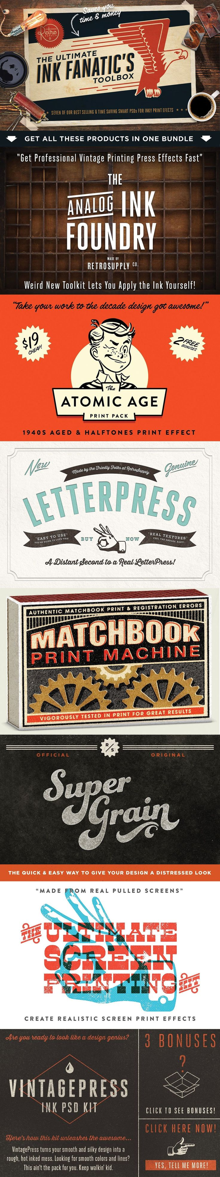 The Ink Fanatic's Toolbox | PSD Kit | Vintagepress | Letterpress | Printing Effects