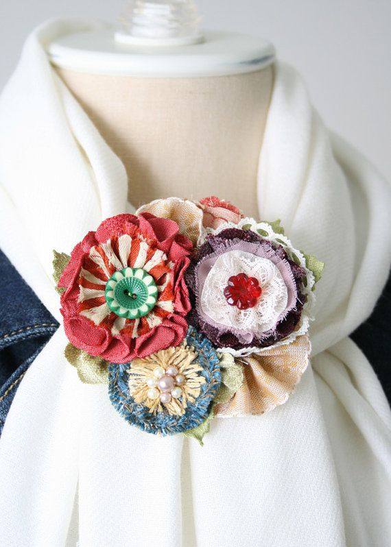 Colorful Flower Brooch, Scarf Pin, Jacket Pin, Fabric Flower Corsage, Textile and Button Brooch