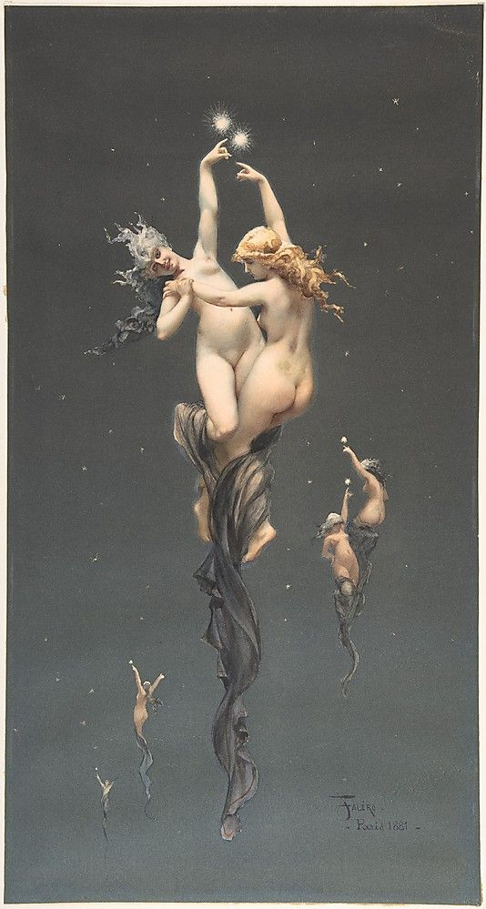 Twin Stars / Brush and watercolor on off-white paper Luis Falero (Spanish, Granada 1851–1896 London) #art #painting #classic
