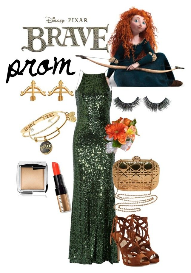 """""""prom inspired / brave challenge"""" by beautytime101 ❤ liked on Polyvore featuring Alex and Ani, Merida, Badgley Mischka, Disney, Delfina Delettrez, Paul Andrew, Christian Dior, Bobbi Brown Cosmetics and Hourglass Cosmetics"""