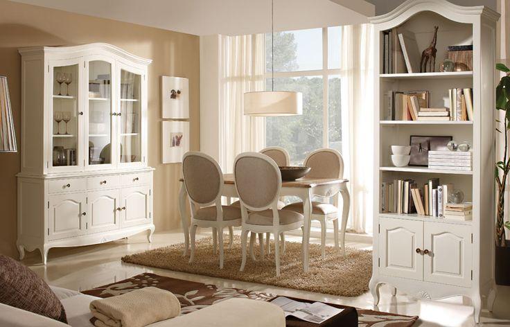 Comedor blanco Vintage Paris   Material: Madera Tropical   Esta coleccion esta inspirada en el mueble clasico frances Louis XV. En su proceso de acabado artesanal, y con la finalidad de asemejar el transcurso del tiempo, se utiliza la tecnica del