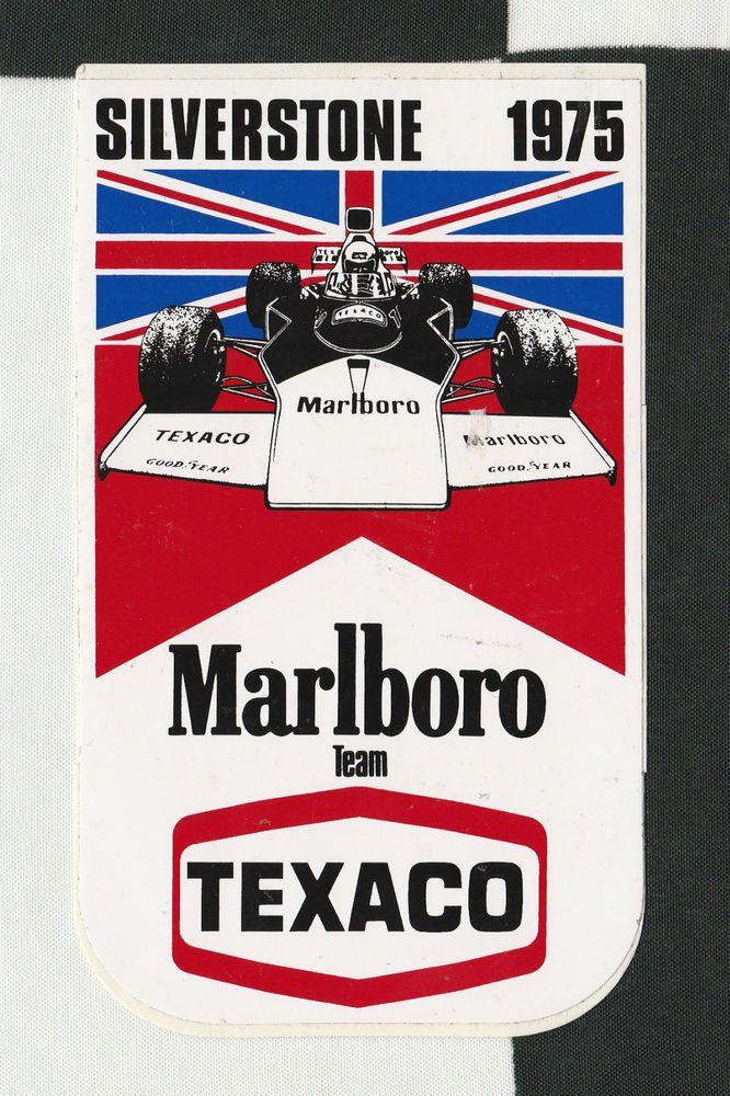 ORIGINAL MARLBORO TEXACO McLAREN SILVERSTONE GP 1975 PERIOD RACE STICKER ADESIVO