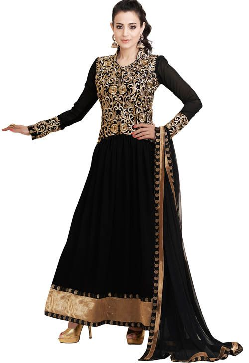 Black Ameesha Patel Embroidered Semi Stitched Salwar Suit