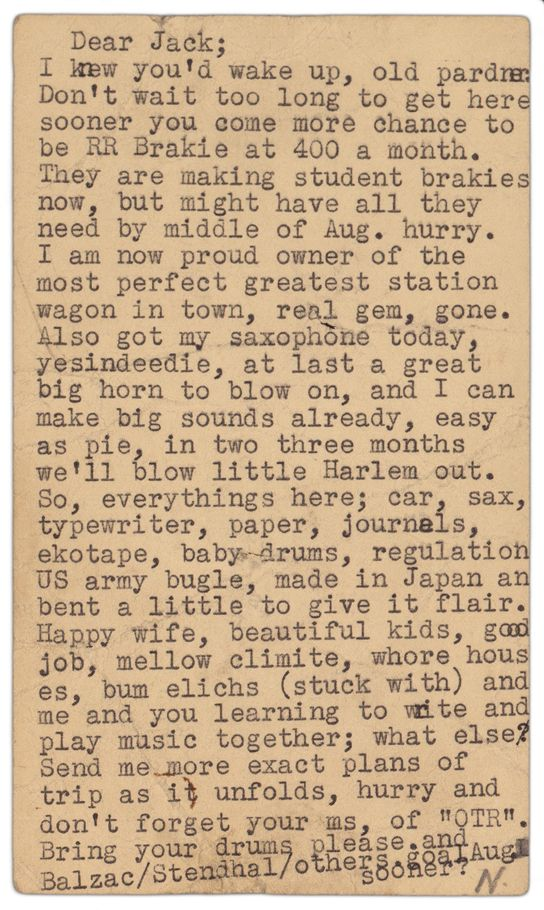 Bad Ass: A letter by Neal Cassady to Jack Kerouac.