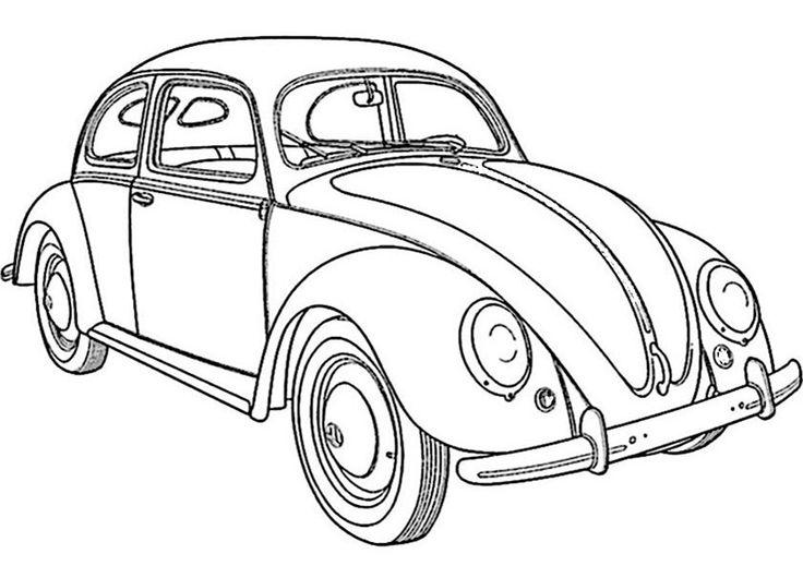 colorear vw escarabajo 1  dibujos de coches autos para