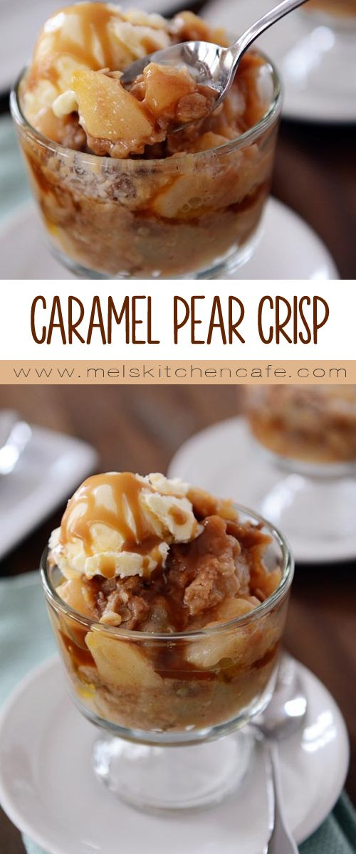 This pear crisp is divine. It has the perfect ratio of sweet, caramel-covered fruit to crumbly, buttery streusel. This crisp is a great dessert to bust out for company!