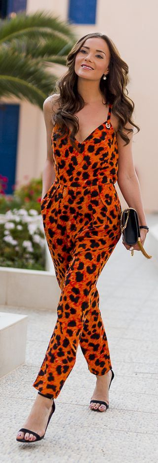 Orange Leo Print Jumpsuit