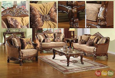 Sofas Loveseats and Chaises 38208: Traditional Style Formal Living Room Furniture Brown Sofa Set Carved Wood Frames -> BUY IT NOW ONLY: $2373.1 on eBay!