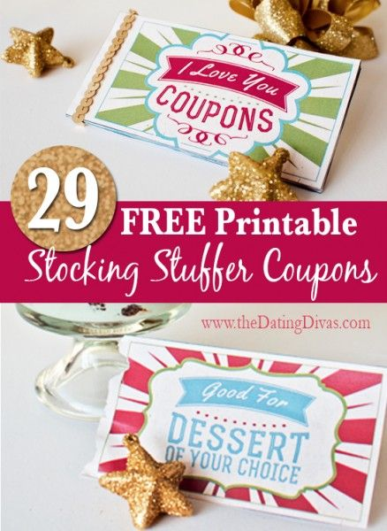 FREE printable stocking stuffer coupons!!  Fun for the hubby or kids!