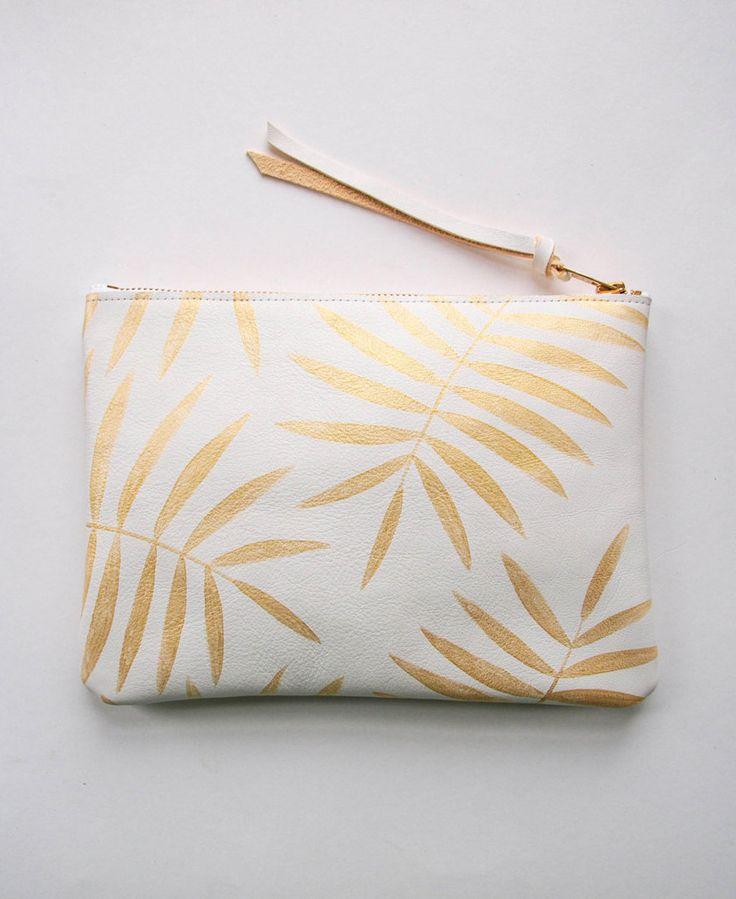 White Gold Palm Leaf Leather Zipper Clutch