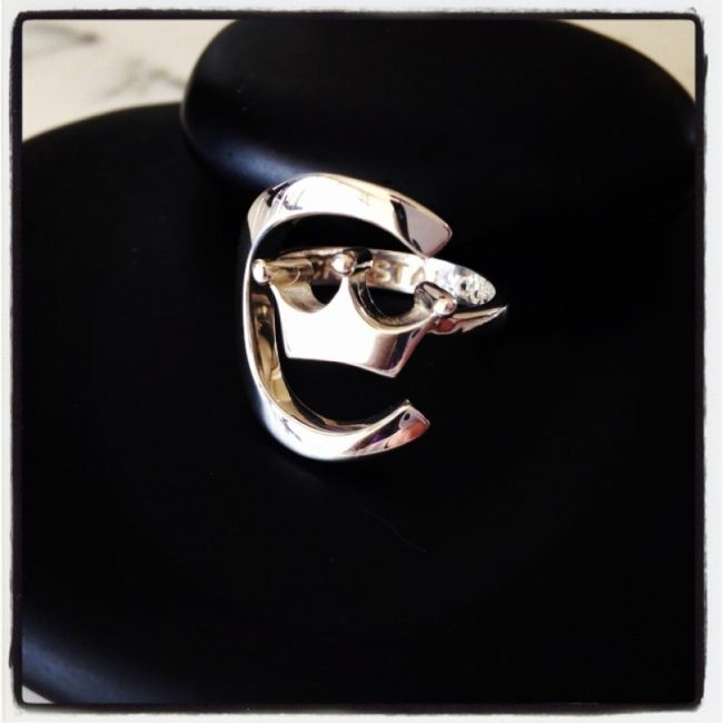 Ring with crown that symbolizes our logo company Crystal Queen from 925 silver