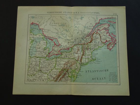 US old map of Pennsylvania Maine Michigan in by VintageOldMaps
