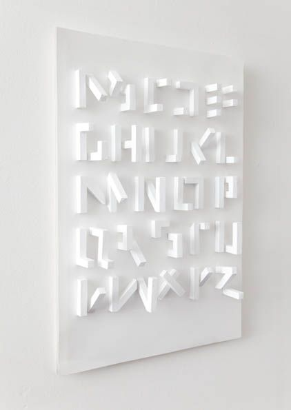 A 3D #typeface by Stefan Abrahams — a good example of physical type. #typography