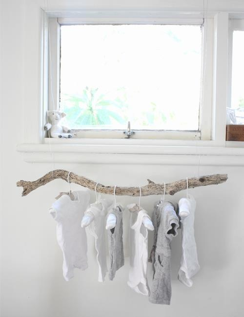 Nice use of drift wood...baby clothes or scarfs...or to g Hang anything! Love it