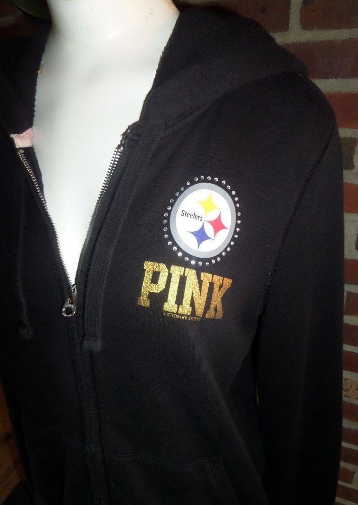 21aa9f969 Victorias Secret Pink Pittsburgh Steelers Zip Up Hoodie Lots of BLING Sz LG  VGC