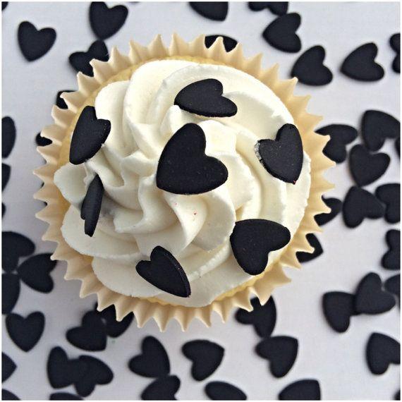 Cupcake Heart Sprinkles 100 Black Sugar Hearts by TheVillageCakeCo
