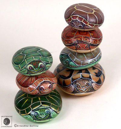 Painted turtle rocks.