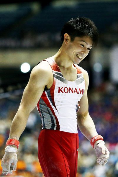 Kohei Uchimura celebrates after on the high bar during the All-Japan Gymnastic Appratus Championshipsat Yoyogi National Gymnasium on June 5, 2016 in Tokyo, Japan.