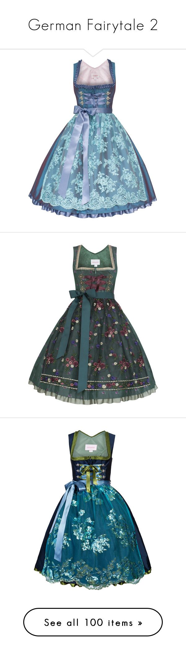 """German Fairytale 2"" by twinkle-twin ❤ liked on Polyvore featuring dresses, dirndl, aquamarine dress, blue dress, grey, lolita, pattern, grey midi dress, line dress and mid calf dresses"